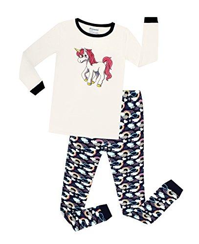 Elowel - Pijama De 2 Piezas para Niñas 100% Algodón con Diseño De Unicornio (Tallas 2-12 Años) 10 Años