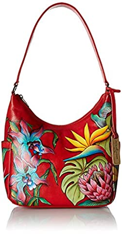 Anuschka Handpainted Leather Classic Hobo with Side Pockets, Island Escape