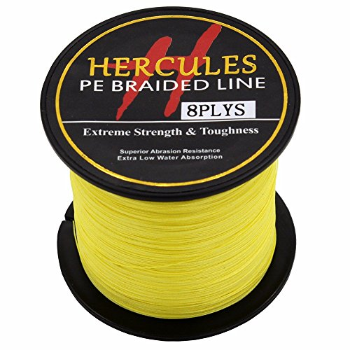Hercules PE Superline geflochtene Angelschnur, 300?m, 2,7?10lb-300lb, 8-fach, Herren, gelb, 15lb/6.8kg 0.16mm