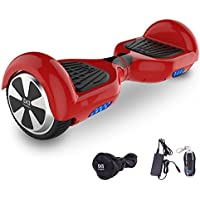 "Cool&Fun Hoverboard Patinete Eléctrico Scooter Monopatín Eléctrico Auto-equilibrio Patín 6.5"" LED 350W*2 de SHOP GYROGEEK(Rojo)"