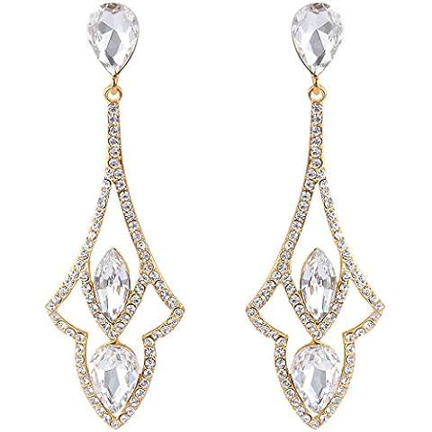 EVER FAITH® Gold-Tone Austrian Crystal Vintage Style Art Deco Tear Drop Pierced Dangle Earrings Clear