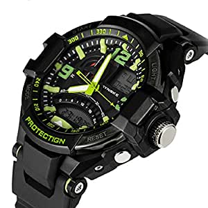 Chianrliu Montre-Bracelet De Mode De Digital Quartz Analogique Des Hommes Conduit Montre ImperméAble Militaire Vert