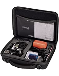 Hama Kamera Tasche für GoPro Hero 3/4 (Case mit passgenauer Inneneinteilung für Gehäuse, LCD, Akku, SD Karte und Zubehör, Netzfach, 20,5 x 15 x 6,2 cm) schwarz