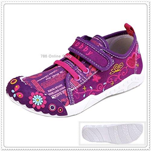 Kinder Freizeitschuhe Schuhe (191C) Leinenschuhe Kinderhausschuhe Größe 25-30 Neu Lila