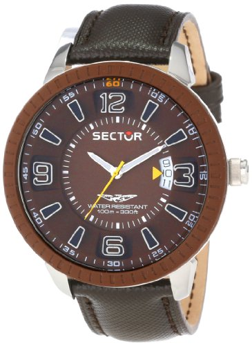 Sector Men's Quartz Watch with Brown Dial Analogue Display and Black Leather Strap R3251119005