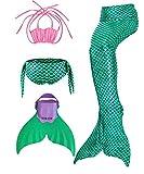 ShePretty Queues de Sirène Mermaid Bikini Maillots de Bain Costume Cosplay pour Filles,Coquille Vert,120