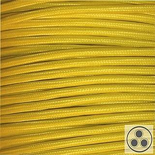 Textilkabel Stoffkabel gelb , 3-adrig rund , 3x0,75