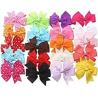 Ambielly archi del nastro con coccodrilli, 20 diversi archi-15 colori solidi e modelli 5 Polka-dot (15 colori solidi + 5 punti)