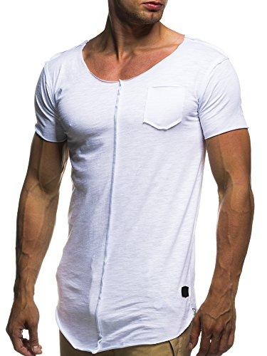 LEIF NELSON Herren oversize T-Shirt Rundhals Basic Shirt LN6288; Grš§e XL, Weiss