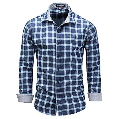Yiye - Chemise casual - Avec boutons - À Carreaux - Col Chemise Classique - Homme - bleu - X-Large