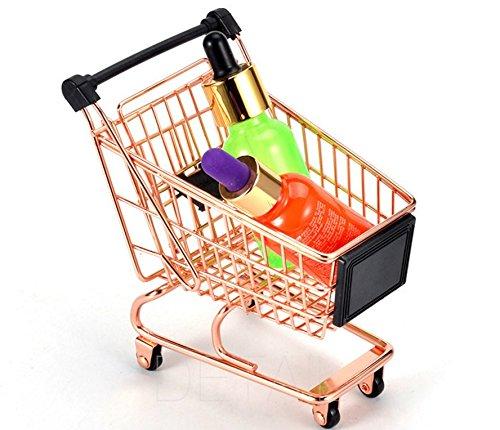 BAOLIJIN Exquisite Mini Warenkorb Supermarkt Hand Trolley Aufbewahrungskorb Decoration-Rose Gold