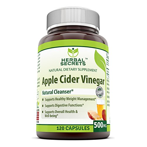 Herbal Secrets Apple Cider Vinegar Dietary Supplement - 500mg - 120 Capsules - Supports Healthy Digestion and Weight Management - Promotes Better Circulation