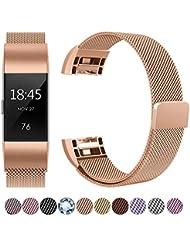 Für Fitbit Charge 2 Armband, HUMENN Fitbit Charge 2 Luxus Milanese Edelstahl Handgelenk Ersatzband Armbänder mit Starkem Magnetverschluss für Fitbit Charge2 Klein Groß