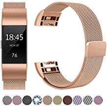 HUMENN UK-Charge2-Metal-X-Rosegold, HUMENN For Fitbit Charge 2 Strap Bands Replacement, Luxury Milanese Stainless Steel Adjustable Smart Watch Strap with Magnetic Closure for Fitbit Charge 2 Small, Rose Gold (Electronics & Photo)