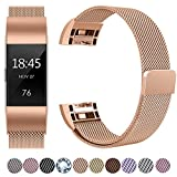 HUMENN For Fitbit Charge 2 Strap Bands Replacement, Luxury Milanese Stainless Steel Adjustable Smart Watch Strap with Magnetic Closure for Fitbit Charge 2 Small, Rose Gold