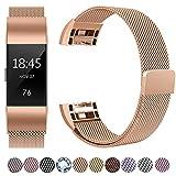 HUMENN Für Fitbit Charge 2 Armband, Luxus Milanese Edelstahl Handgelenk Ersatzband Smart Watch Armbänder mit Starkem Magnetverschluss für Fitbit Charge 2, Small Roségold