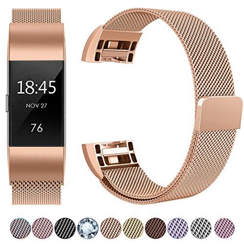 Fitbit Charge 2 Armband, HUMENN Luxus Milanese Edelstahl Handgelenk Ersatzband Smart Watch Armbänder mit Starkem Magnetverschluss für Fitbit Charge 2, Small Roségold