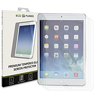 Eco-Fused Premium Tempered Glass Screen Protector for iPad Air 2 and 1 - 3 Glass Screen Protectors with Oleophobic Coating Compatible - Anti Fingerprint and Scratch - Perfect Clarity and Touch
