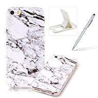 For iPhone SE/iPhone 5/5S Anti-Scratch Shock Proof Case,For iPhone SE/iPhone 5/5S Slim-Fit Soft Back Cover,Herzzer Fashion [Marble Stone Pattern] TPU Bumper Protective Slim Gel Skin Rubber Case Flexible Shock Scratch Resist Protection Shell for iPhone SE/iPhone 5/5S + 1 x Free White Cellphone Kickst