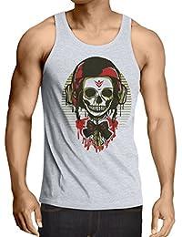 lepni.me Camisetas de Tirantes para Hombre Un cráneo de Moda con Casco de Motocicleta