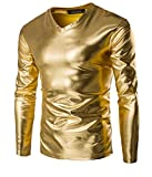 Choose Men's Trend Metallic Schlanke V-Ausschnitt Langarm T-Shirts XL Golden