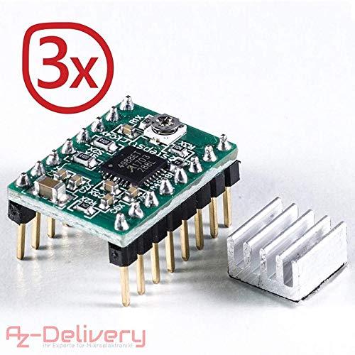 AZDelivery ⭐⭐⭐⭐⭐ 3 x A4988 DMOS Schritt Motor Treiber Stepper Motor Driver RepRap RAMPS ARDUINO komplett mit Stiftleisten und Kühlkörper! (3X A4988)