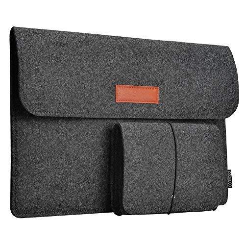 "dodocool 13,3 Zoll Filz Sleeve Hülle Ultrabook Laptop Tasche für 13\"" MacBook Pro/Retina/MacBook Air , iPad Pro 12.9 Tasche Dunkel Grau"