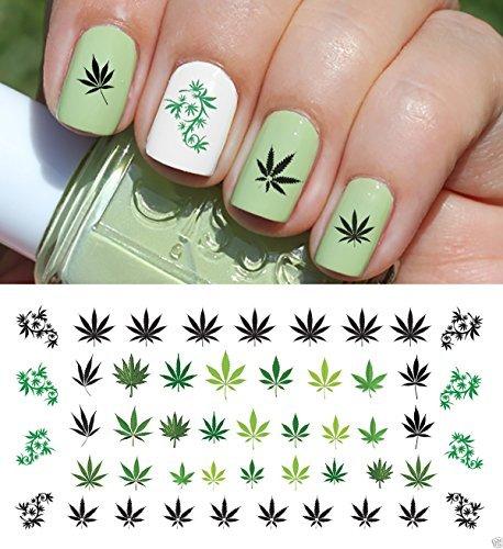 Marijuana Pot Leaf Water Slide Nail Art Decals Set #2 - Salon Quality 5.5 X 3 Sheet! by Moon Sugar Decals -