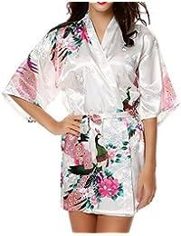 feoya corto albornoz de Kimono de mujer Belted seda satén peonía pavo real ropa de dormir