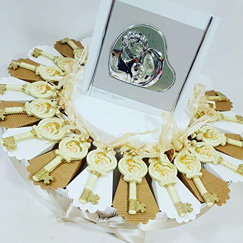 Torta bomboniere sacra famiglia bimba/o battesimo (torta da 20 fette + centrale argento + confetti + 20chiavi)