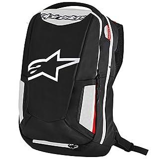 Alpinestars 6107717-123 Motorrad-Rucksack City Hunter Backpack, Black White RED, Schwarz Weiß