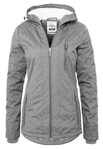 SUBLEVEL Damen Winterjacke   Warme Sportliche Jacke mit Kapuze in Blau & Grau middle-grey S