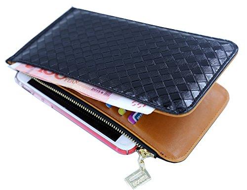 Unisex Geldbörse + Kreditkartenetui + Brieftasche / Extra-Reißverschluss Fächer /Hochwertigem PU-Leder/18 Fächer (vintage), ca. 19cm x 10.5cm x 1.5cm Schwarz