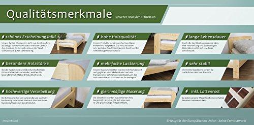 Kinderbett mit Absturzsicherung Kiefer Vollholz massiv natur A17, inkl. Lattenrost - Abmessung 70 x 160 cm - inklusive Matratze - 2
