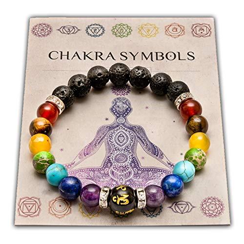Wiccan Star Doppelt Natur Chakra Armband mit Schmuckbeutel & bedeutung Karte