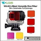 wocase profesional conmutable Juego de filtros de lente para GoPro Hero4Hero 3+ cámaras (Compatible con estándar Vivienda Sólo) (Full buceo agua profundidad cobertura)