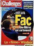 CHALLENGES [No 180] du 13/06/2002 - FRANCIS MER - PATRON DE MINISTERE - COMMERCE - GESTION - SCIENCES - INDUSTRIE - FAC - LES FILIERES QUI CARTONNENT - LA 'FIRME+« WINDSOR - PARIS ILE-DE-FRANCE - TOUTES LES CLASSES PREPAS AU BANC D'ESSAI.