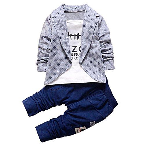 Baby Kleinkind Jungen Mode Kleidung Set, Baywell Gentleman Outfits Anzug Hosen + Tops 2 Stück (90/M/12-18 Monate, Grau) (Jungen Kleidung Mode)