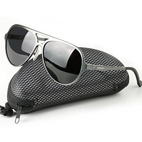 (HODGSON Herren Sonnenbrille polarisiert für Damen und Herren UV400 Schutz Aviator Pilotenbrille Metallrahmen für Autofahrer, Outdoor Sport usw. in Grau und Silber)