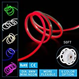 Led Mini Neon Lights, Shine Decor Red Rope Lights, 8MM Diameter, Update 2835 120Led/M, 240V, Included All Necessary Accessories, Flex Durable Super Bright For Outdoor Indoor Decor Or Commercial Use