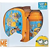 Minion Trio Children School Combo Box For Kids Of Age 3 Years Onwards | Includes 1 Lunch Box & 1 Water Bottle | BPA Free | Attractive Print | Bright And Colourful | Certified Safe As Per European Safety Standards (EN71) | Imported Premium Quality | Bl