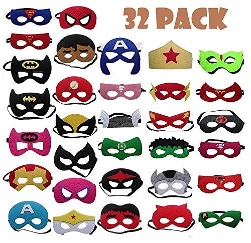 32 stücke superheld maske, YB-EU super hero cosplay partei maske halbe maske halbe maske für kinder party tasche füller Gastgeschenke für Cosplay Party masquerade im Alter von 3 bis 12 (Spiderman Kostüm Für 1 Jahr Alt)