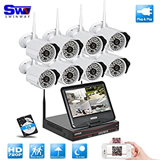 ANRAN Wireless Camera 8ch DVR Infrared Security Camera System with 10'' Monitor Surveillance CCTV Camera System Support 2TB Hard Disk for Wifi Outdoor IP Camera
