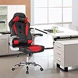 SUNCOO Gaming Stuhl Racing Stuhl Leder Bürostuhl Chefsessel Schreibtischstuhl mit Armlehnen & Höhenverstellung & Wippfunktion & Kopfkissen Schwarz/Rot