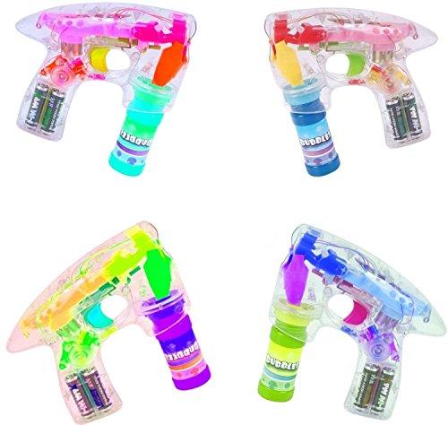 SET Seifenblasenpistole Mit 4 LED und Sound Hochzeit Seifenblasenmaschine Pistole Seifenblasenflüssigkeit (Bubble Guns Für Hochzeiten)