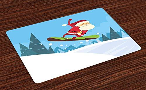 Soefipok Weihnachtsset-Matten, Snowboarding Santa auf Einem Hügel Kiefern und Snowy Land Funny Print, waschbare Stoff Tischsets für Esszimmer Küchentisch Dekor , 4er Set -
