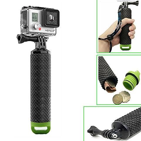 GoPro Griff Schwimmkörper, Homeet Wasserdicht Schwimmend Griff Drücker Handgriff Floaty Selfie Stick Bobber Ergonomisch für GoPro Hero 5/4/3+/3/2/SESSION, für Action Camera Canon/Nikon/Panasonic/Olympus/SJCAM/SONY HDR FDR/Garmin Virb XE/Xiaomi Yi 4K/DBPOWER QUMOX/Akaso/Apeman (Ergonomischer Griff Handgriff)