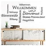 Grandora Wandtattoo Willkommen I grün (BXH) 132 x 58 cm I Sprachen international Flur Diele Wohnzimmer Sticker Aufkleber Wandaufkleber Wandsticker W5092