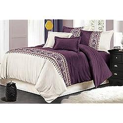 USTIDE Rustikale Serie Bettwäsche-Set, Polyester, violett, King Size