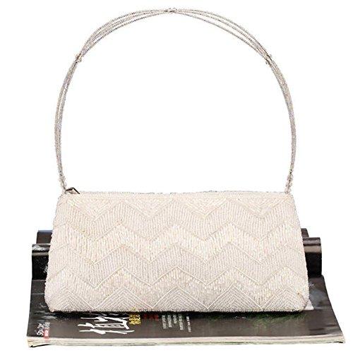 ERGEOB® Donna Clutch sacchetto di sera borsetta mano-perla taschino diamante festetaschino bianco